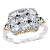 Petalite, Thai Black Spinel 14K YG and Platinum Over Sterling Silver Ring (Size 5.0) TGW 2.44 cts.
