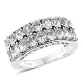 Petalite, Thai Black Spinel Platinum Over Sterling Silver Band Ring (Size 6.0) TGW 2.22 cts.