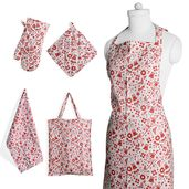 Red Xmas Printed Cotton Kitchen Set (Apron, Glove, CM Pot Holder, Towel, Bag)