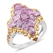 Madagascar Pink Sapphire 14K YG and Platinum Over Sterling Silver Ring (Size 7.0) TGW 3.95 cts.
