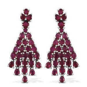 GP Niassa Ruby Platinum Over Sterling Silver Chandelier Cluster Earrings TGW 12.56 cts.