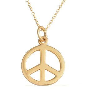 14K YG Over Sterling Silver Peace Pendant with Chain (18 In, 2 g)