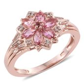 Morro Redondo Pink Tourmaline, White Topaz 14K RG Over Sterling Silver Floral Ring (Size 7.0) TGW 1.22 cts.