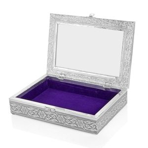 Oxidized Jewelery Box with Glass window on Top in Royal Blue Velvet (11x8x1.75 in)