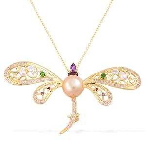 South Sea Golden Pearl (10-10.5 mm), Multi Gemstone 14K YG Over Sterling Silver Dragonfly Brooch Pendant With Chain (18 in) TGW 1.63 cts.