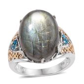Malagasy Labradorite, Malgache Neon Apatite 14K YG and Platinum Over Sterling Silver Ring (Size 10.0) TGW 18.49 cts.