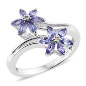Premium AAA Tanzanite, Diamond Accent Platinum Over Sterling Silver Bypass Flower Ring (Size 7.0) TGW 1.13 cts.