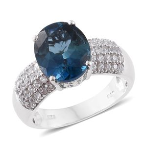 Dan's Collector 25th Anniversary Collection London Blue Topaz, Cambodian Zircon Platinum Over Sterling Silver Ring (Size 8.0) TGW 6.95 cts.