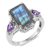 Malagasy Labradorite, Amethyst Platinum Over Sterling Silver Ring (Size 10.0) TGW 7.85 cts.