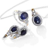 One Day TLV Masoala Sapphire, Cambodian Zircon 14K YG and Platinum Over Sterling Silver Earrings, Ring (Size 7) and Pendant With Chain (20 in) TGW 9.89 cts.