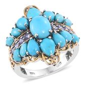 Arizona Sleeping Beauty Turquoise, Tanzanite 14K YG and Platinum Over Sterling Silver Ring (Size 10.0) TGW 6.69 cts.