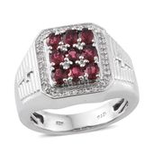 Burmese Red Spinel, Cambodian Zircon Sterling Silver Men's Ring (Size 10.0) TGW 5.44 cts.