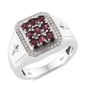 Burmese Red Spinel, Cambodian Zircon Sterling Silver Men's Ring (Size 12.0) TGW 5.44 cts.
