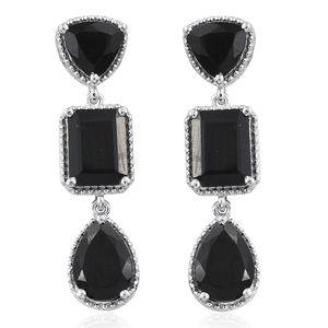 Australian Black Tourmaline Platinum Over Sterling Silver Earrings TGW 10.70 cts.