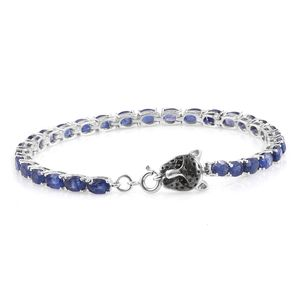 Masoala Sapphire, Thai Black Spinel Platinum Over Sterling Silver Tennis Bracelet with Panther Spring Ring Clasp (8.00 In) TGW 16.57 cts.