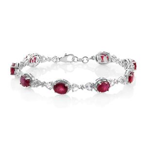 Niassa Ruby, White Topaz Platinum Over Sterling Silver Bracelet (7.50 In) TGW 21.84 cts.