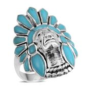 Santa Fe Style Turquoise Sterling Silver Ring (Size 5.0) TGW 3.00 cts.