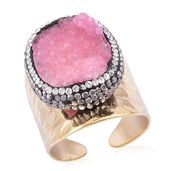 Pink Drusy Quartz, Gray and White Austrian Crystal ION Plated YG Stainless Steel Ring (Size 10.0) TGW 7.44 cts.