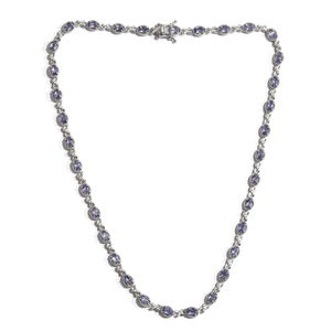 Tanzanite, Cambodian Zircon Platinum Over Sterling Silver Necklace (18 in) TGW 8.06 cts.