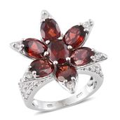 Mozambique Garnet, Cambodian Zircon Platinum Over Sterling Silver Floral Ring (Size 5.0) TGW 12.36 cts.