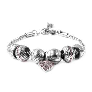 Pink Austrian Crystal Stainless Steel Heart Charm Bracelet (7.00-8.00In)