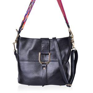 Black Genuine Leather Shoulder Bag (11.6x10.2x5 in)