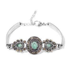 Brazilian Emerald, Swiss Marcasite Black Oxidized Stainless Steel Bracelet (6.00-8.00In) TGW 5.00 cts.