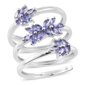 Premium AAA Tanzanite Platinum Over Sterling Silver Leaf Spiral Ring (Size 5.0) TGW 1.60 cts.