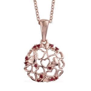 14K RG Over Sterling Silver Pendant With ION Plated RG Stainless Steel Chain (20 in) Made with SWAROVSKI Red Crystal
