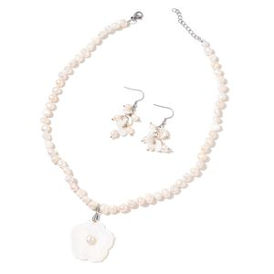 Freshwater Pearl, White Shell Stainless Steel Earrings and Carved Flower Necklace (18 in)