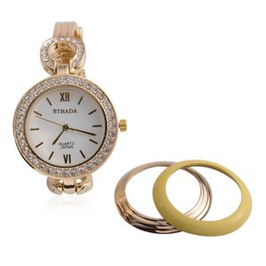 STRADA White Austrian Crystal Japanese Movement Watch in Goldtone and Set of 3 Oil Painted Bezels
