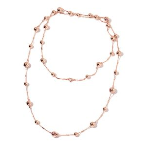 Sim Pink Sapphire ION Plated RG Stainless Steel Contemporary Station Style Necklace (50 in) TGW 1.00 cts.