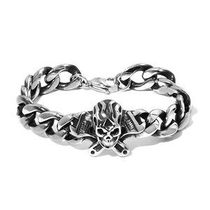 Black Oxidized Stainless Steel Curb Skull Bracelet (8.50 In)