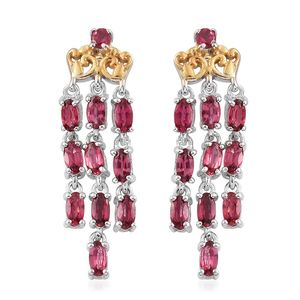 Burmese Red Spinel 14K YG and Platinum Over Sterling Silver Chandelier Earrings TGW 2.34 cts.