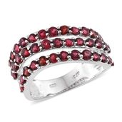 Burmese Red Spinel Platinum Over Sterling Silver Ring (Size 8.0) TGW 3.08 cts.