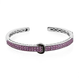 Madagascar Pink Sapphire, Thai Black Spinel Platinum Over Sterling Silver Buckle Cuff (7.25 in) TGW 5.18 cts.