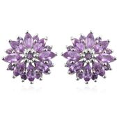 Madagascar Purple Sapphire Platinum Over Sterling Silver Sunflower Earrings TGW 2.10 cts.