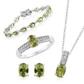 Hebei Peridot, Cambodian Zircon Platinum Over Sterling Silver Bracelet (7.50 in), Earrings, Ring (Size 10) and Pendant With Chain (20.00 In) TGW 17.51 cts.