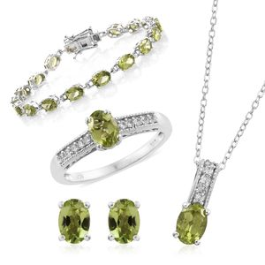 Hebei Peridot, Cambodian Zircon Platinum Over Sterling Silver Bracelet (7.50 in), Earrings, Ring (Size 5) and Pendant With Chain (20.00 In) TGW 17.51 cts.