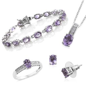 One Day TLV Rose De France Amethyst, Cambodian Zircon Platinum Over Sterling Silver Bracelet (7.50 in), Earrings, Ring (Size 8) and Pendant With Chain (20.00 In) TGW 15.69 cts.