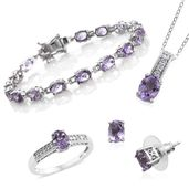 Rose De France Amethyst, Cambodian Zircon Platinum Over Sterling Silver Bracelet (7.50 in), Earrings, Ring (Size 7) and Pendant With Chain (20.00 In) TGW 15.69 cts.