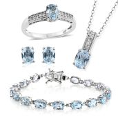 Sky Blue Topaz, Cambodian Zircon Platinum Over Sterling Silver Bracelet (7.50 in), Earrings, Ring (Size 7) and Pendant With Chain (20.00 In) TGW 21.80 cts.