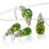 Chartreuse Quartz, Hebei Peridot, Russian Diopside Platinum Over Sterling Silver J-Hoop Earrings, Ring (Size 5) and Pendant With Chain (20 in) TGW 10.61 cts.
