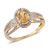 Brazilian Citrine 14K YG Over Sterling Silver Ring (Size 6.0) TGW 1.30 cts.