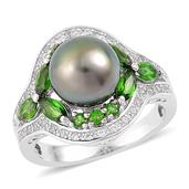 Tahitian Pearl, Russian Diopside, White Zircon Sterling Silver Ring (Size 6.0) TGW 1.80 cts.