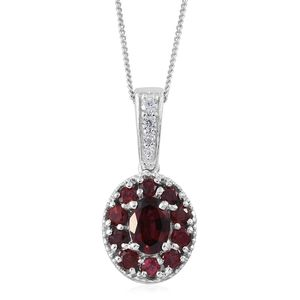 Burmese Red Spinel, Cambodian Zircon Platinum Over Sterling Silver Floral Pendant With Chain (20 in) TGW 1.75 cts.