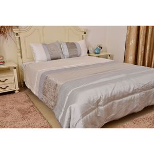 Light Gray Microfiber Comforter with Set of 2 Standard Pillow Shams (Full-Queen)