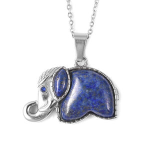 Lapis Lazuli, Blue Austrian Crystal Stainless Steel Elephant Pendant With Chain (20 in) TGW 5.02 cts.