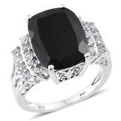 Australian Black Tourmaline, Cambodian Zircon Platinum Over Sterling Silver Ring (Size 9.0) TGW 12.80 cts.