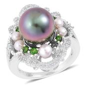 Tahitian Pearl, Multi Gemstone Sterling Silver Ring (Size 10.0) TGW 0.59 cts.